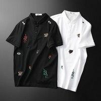 Fashion Great Designer Polos Shirt 2019 New Brand Snake Embroidery Man Polo Shirt Short Sleeve Mens Basic F9957