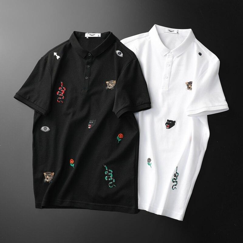 Mode grand Designer Polos chemise 2019 nouvelle marque serpent broderie homme Polo chemise à manches courtes hommes de base F9957