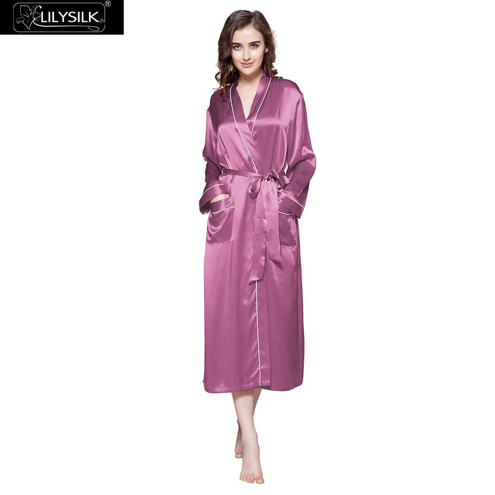 73235b7509 LilySilk Robe Sleepwear Kimono Women Pure 100 Silk 22 momme Contra Trim  Chinese Full Length Women s Clothing Free Shipping