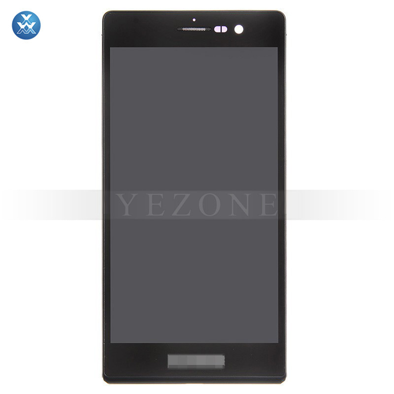 For Huawei Ascend P7 LCD Screen and Digitizer Assembly with Frame Replacement - Black - With Huawei Logo Only - Grade S+