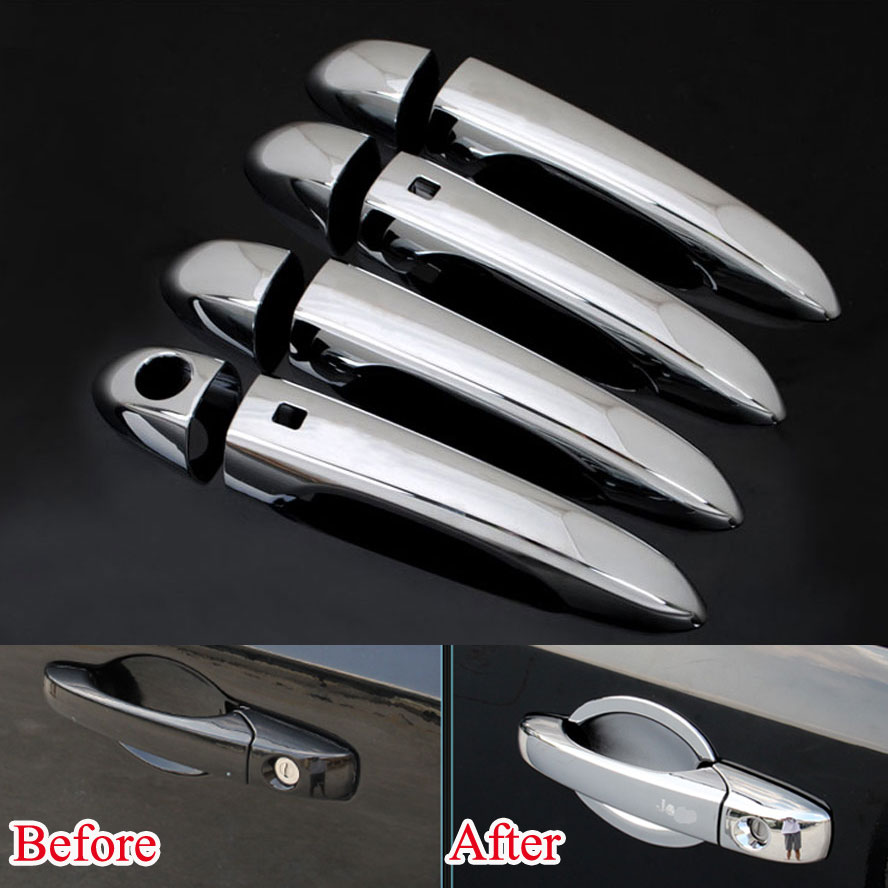 8pcs set abs chrome car door handles with smart key covers catch trim decoration kit