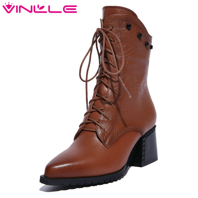 7d01388ec8c6f VINLLE Size 11 Vintage Lace Up Square High Heel Shoes Woman Real Leather  Ankle Boots Women Shoes Zipper Lady Motorcycle Boots