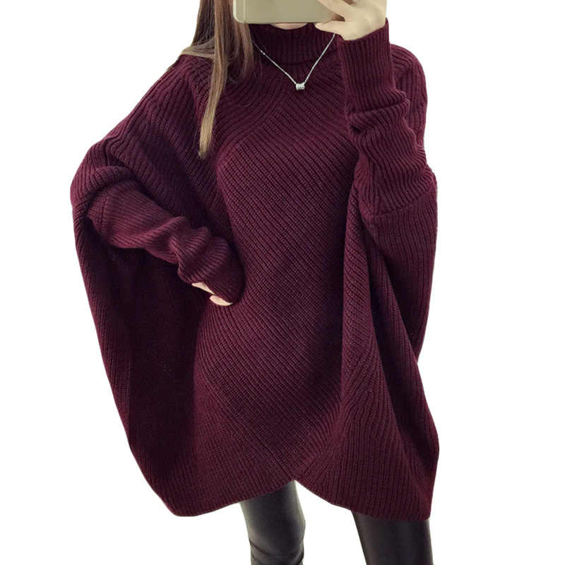 Women's Fall Winter Batwing Sleeve Knitted Sweater Oversized Feminino Turtleneck Irregular Pullover Sweater Overcoat Thick XH990