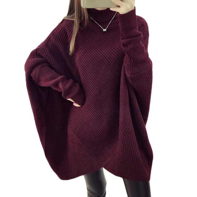 71be4201c331 Women s Fall Winter Batwing Sleeve Knitted Sweater Oversized ...