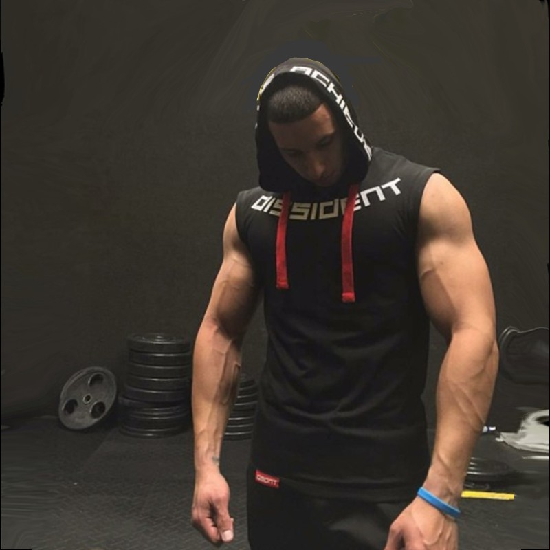 Muscleguys Brand Gyms Clothing Fitness Men   Tank     Top   hooded Mens Bodybuilding Stringer Tanktop workout Singlet Sleeveless Shirt