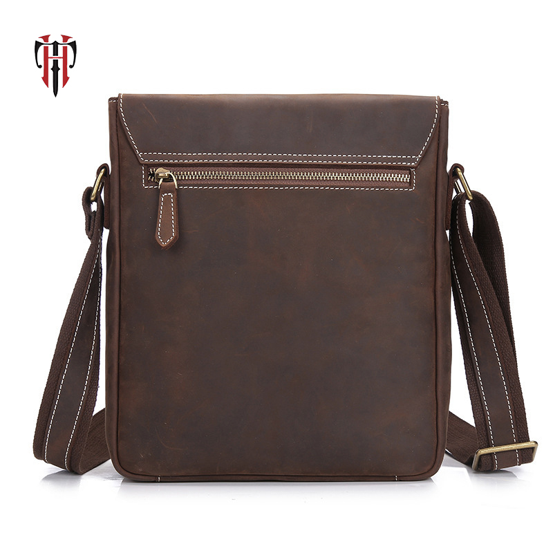 TIANHOO crazy horse leather man bags flap shoulder vintage casual style messenger bag for men j m d crazy horse leather women flap messenger bag casual sling bag small lady purse c005b