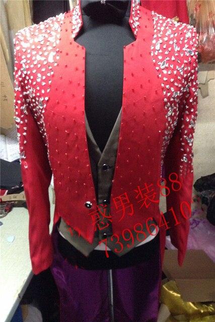 100% настоящий черный/красный мужская горный хрусталь бисером швейная маг смокинг махаон куртка/партии/этап/это только куртка