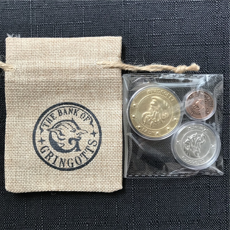 For Harry Potter Gringotts Bank Coins with Plastic Box Wizarding World Cosplay Bank Bag Gifts Kids Fans