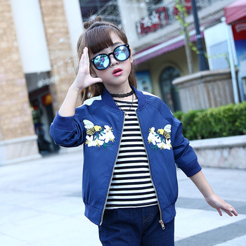 Girls Bomber Jackets Spring Embroidery Floral Nylon Jacket Kids Red Coat For Girls Casual Children Outerwear Embroidery Honeybee 3