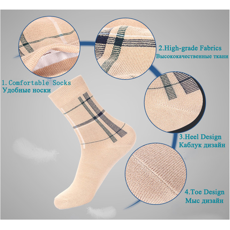 5 Çift / grup Çorap Erkekler Elbise Düğün Ekip Sağlıklı Pamuk - İç Giyim - Fotoğraf 6