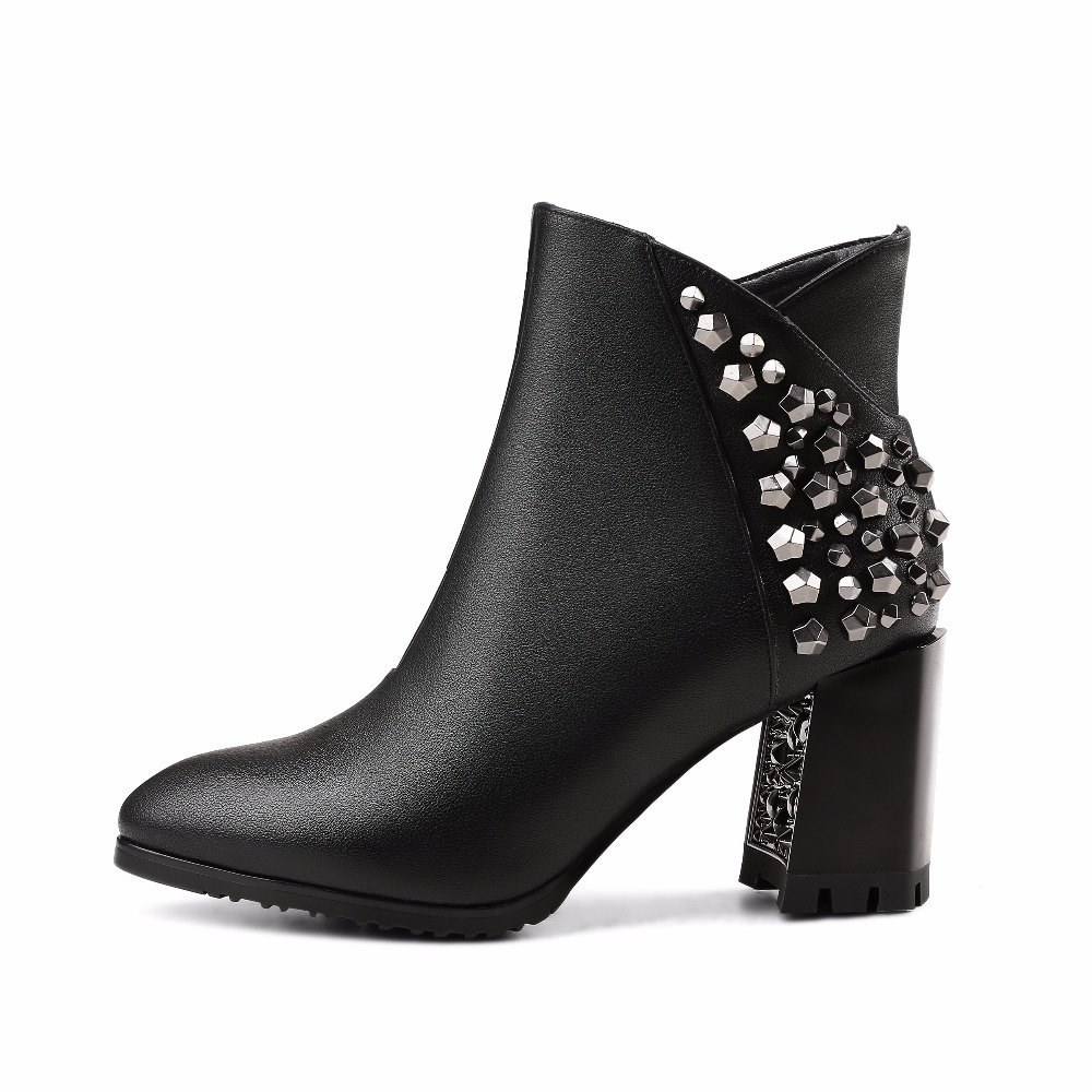 WETKISS Rivet Ankle Boots Luxury Shoes Women Designers Genuine Leather Womens Winter Boots Side Zip Square High Heels Shoes