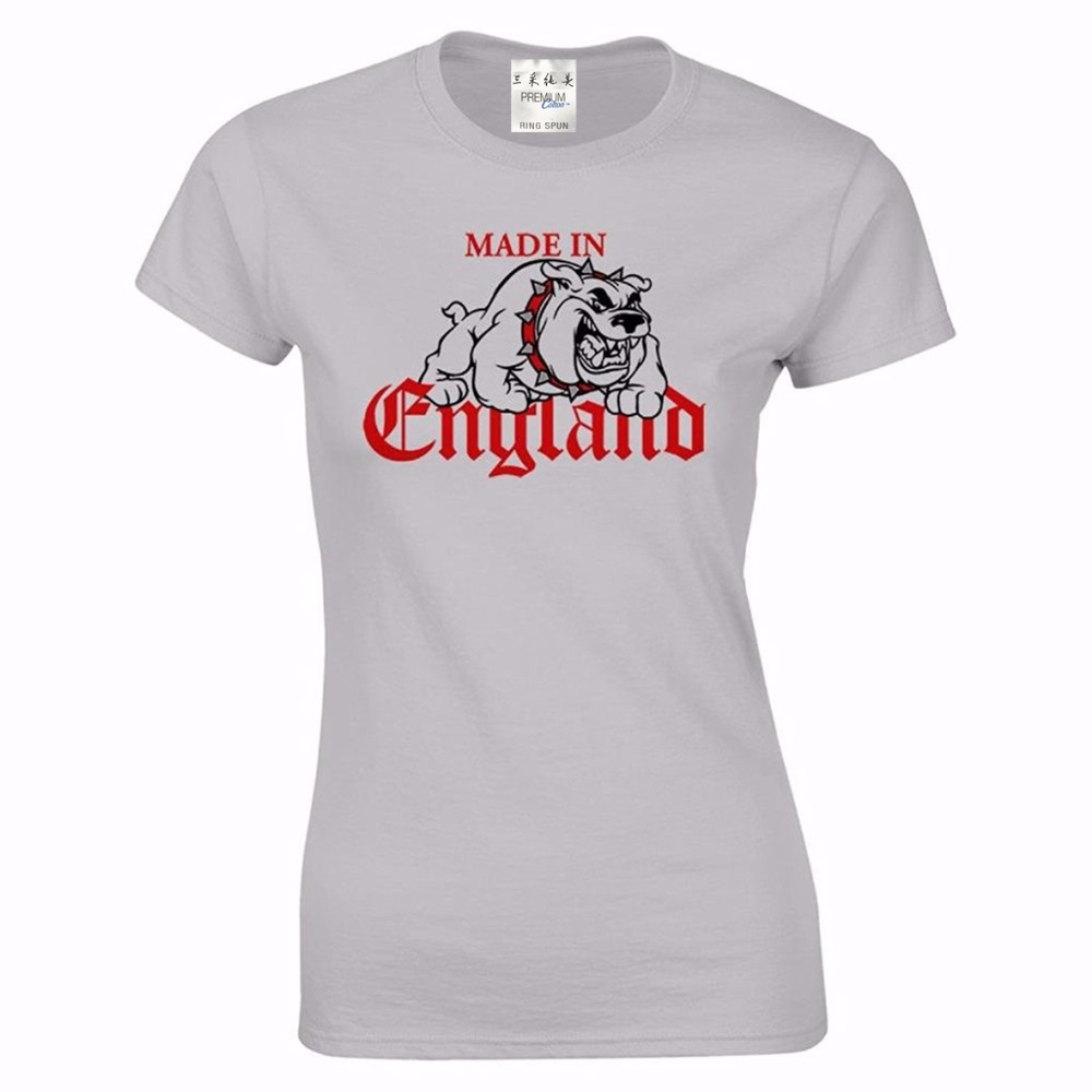 2018 Latest Fashion Women Cute Women's Made In England British Pride Bulldog Holiday T Shirt 100% Cotton High Quality Woman Bracing Up The Whole System And Strengthening It