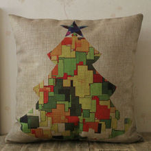 LINKWELL 18″x18″ Christmas Tree Merry Xmas Gift Present Ornament Burlap Decorative Pillow Case Cushion Cover Protector Slip