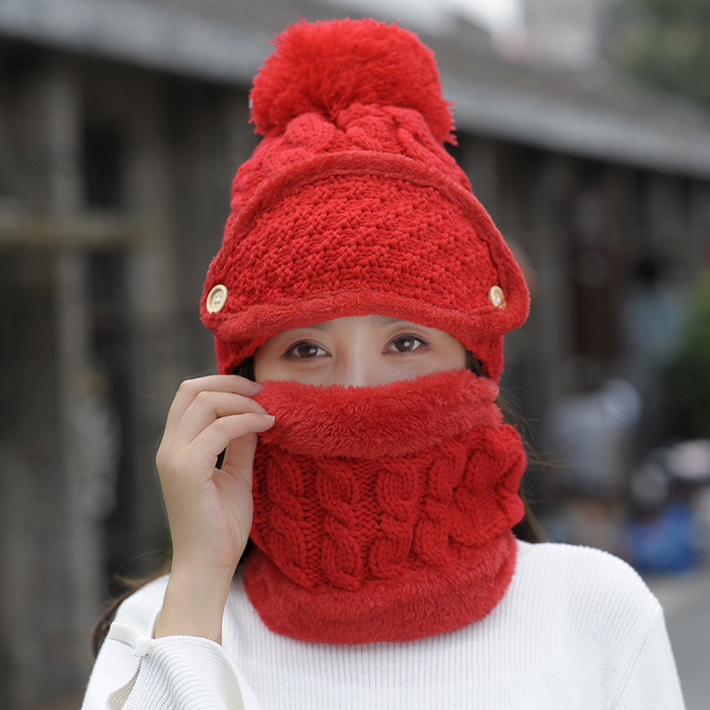 1 PC New Knitted Hat Scarf Caps Winter Neck Cover Warmer Hats For Men Women Multifunctional Hats Set With Scarf And Mask
