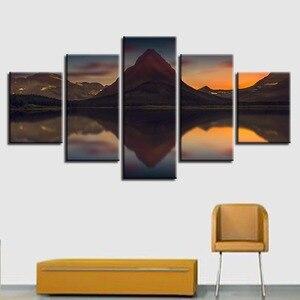 Hd impresso decoração da arte da parede moderna casa quarto 5 peças montanha rio paisagem quadros quadro quadro quadro lona modular