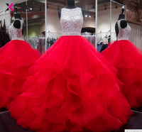 XCOS Lange Prom Kleider 2018 Wunderschöne Ballkleid Scoop Perlen Kristalle Bodenlangen Langen Roten Abendkleid Vestido de Festa