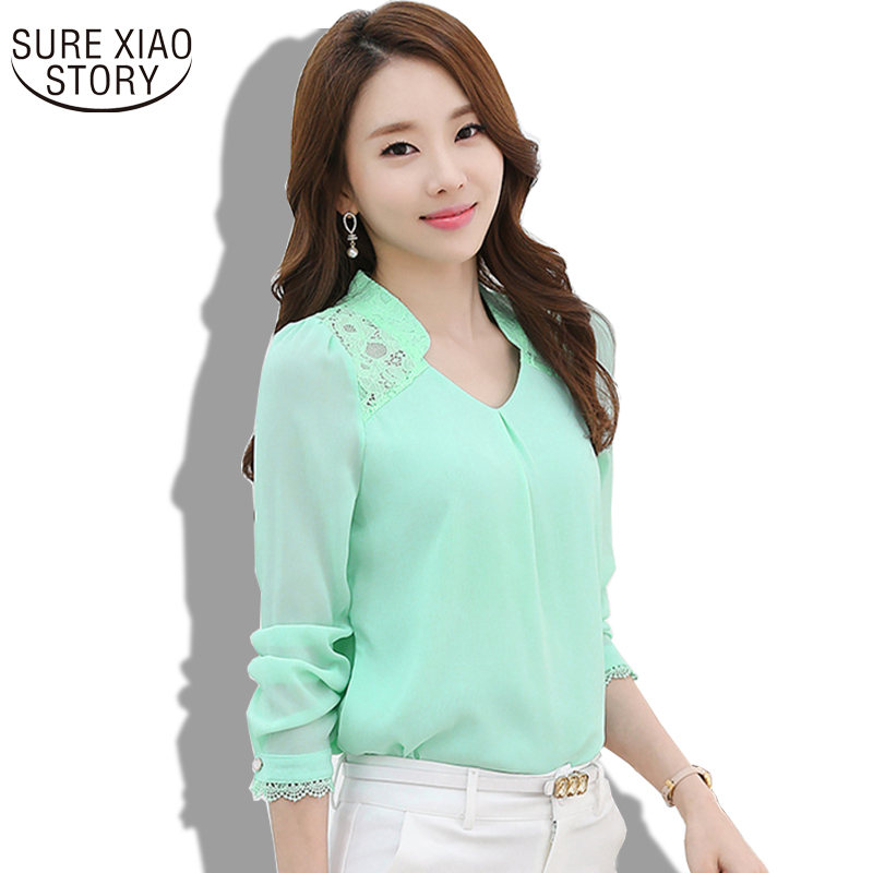 New 2016 Spring Womens Profession Long Sleeved Solid Chiffon Blouse