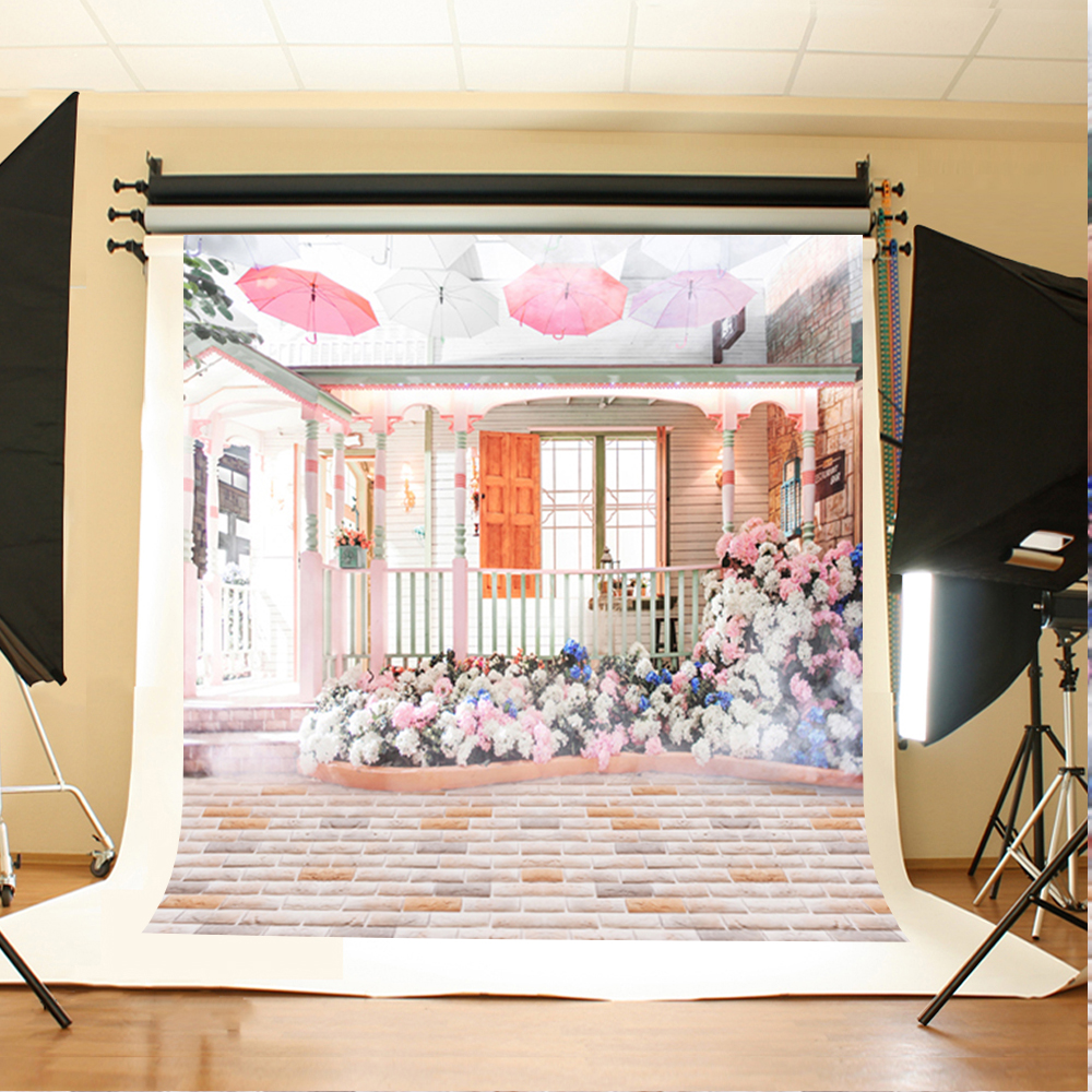 Wedding Photo Backdrops White Pink Flowers Background for Photo Stone Brick Floor Umbrella Backdrops for Photographic Studio