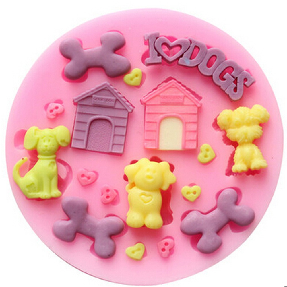 Cake Decorating Animal Molds : 3D Cute Dog Animal Silicone Molds Chocolate Mold Fondant ...