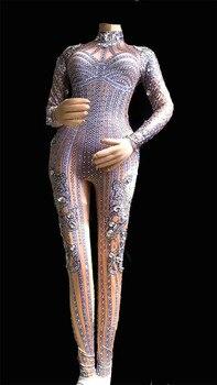 Women Glisten Rhinestones Jumpsuit Long Sleeves Stones Bodysuit Performance Party Celebrate Luxurious Costume Dance Clothing
