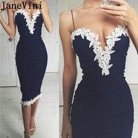 JaneVini Coctailjurk Black Cocktail Dresses White Lace Appliques Formal Gowns Tea Length Sexy Elegant Plus Size Party Dress Robe