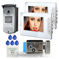 """FREE SHIPPING Wired 7"""" Color Video Intercom Door Phone System + 2 White Monitors + 1 700TVL RFID Camera + Electric Lock In Stock"""