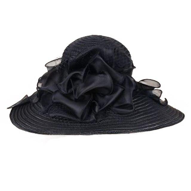 d2c24ab2c22 Online Shop FS Elegant White Church Hats Summer Women Large Brim ...