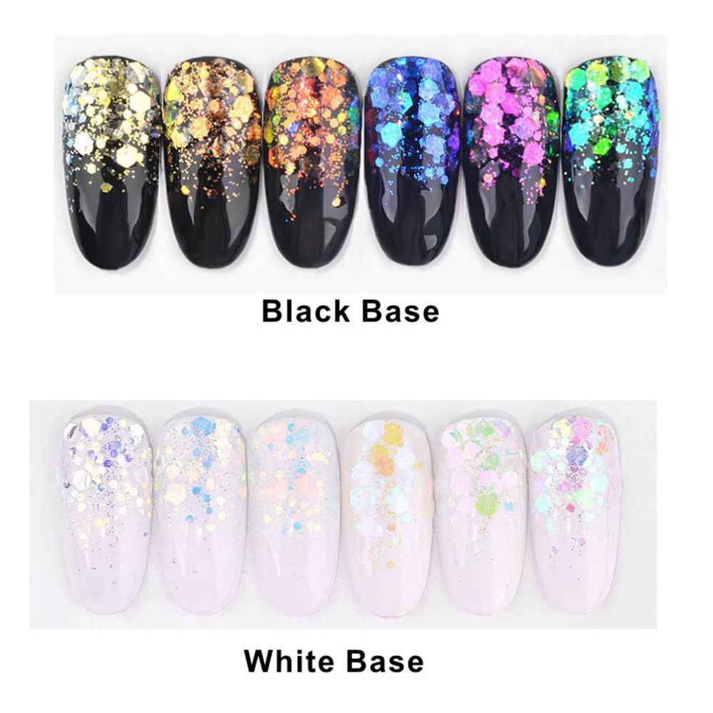 1 Box 6 kolorów Aurora paznokci błyszczące cekiny ultra-cienki syrenka sześciokątne płatki kromka mieszane proszki 3D musujące Nail Art dekory