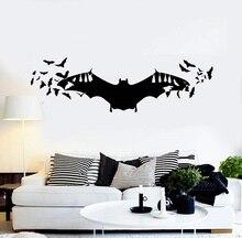 Morcego arte halloween horror inspiração vinil decalques de parede da família sala estar crianças quarto janela decoração adesivo mural wsj13