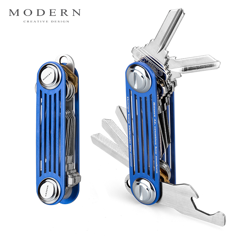 Modern - Brand New 2017 Aluminum Smart Key Wallet Key Organizer DIY Keychain EDC Pocket Car Key Holder Men Women Key Chain