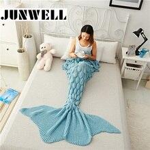 Mermaid Tail Blanket Yarn Knitted Handmade Crochet Mermaid Blanket Kids Throw Bed Wrap Super Soft Sleeping Bed 1PCS/Lot