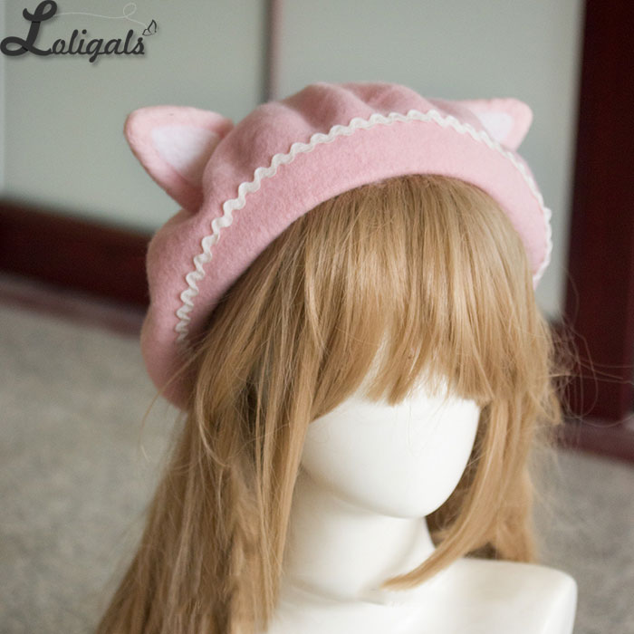 Image 3 - Lovely Womens Cat Ear Berets Cute Mori Girl Wool Berets for Winter Pink WhiteWomens Berets   -