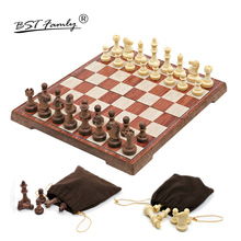 BSTFAMLY Plastic Chess Set Game, Game of International Magnetic Folding Chessboard Pieces Chessman I16