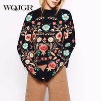 WQJGR 2018 Autumn Winter Long Sleeve Pullover Sweater Women O neck Collar Flowers Embroidery Top Loose Korean Woman's Sweater