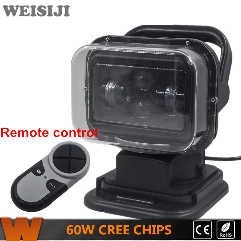 Hot Selling WEISIJI Automobile Accessories 7Inch Remote Controller LED Search Work Light with CREE Chips 60W Rotating Lights