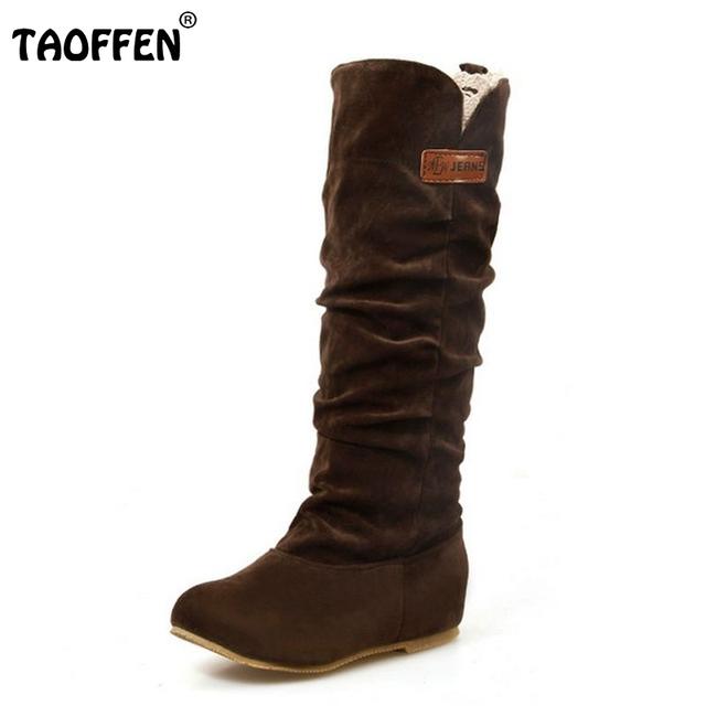 Tamanho 34-46 Mulheres Plano Botas de Meio de Inverno Bota de Neve Moda Calçado de Qualidade Sapatos Quentes Botas Feminina P2394