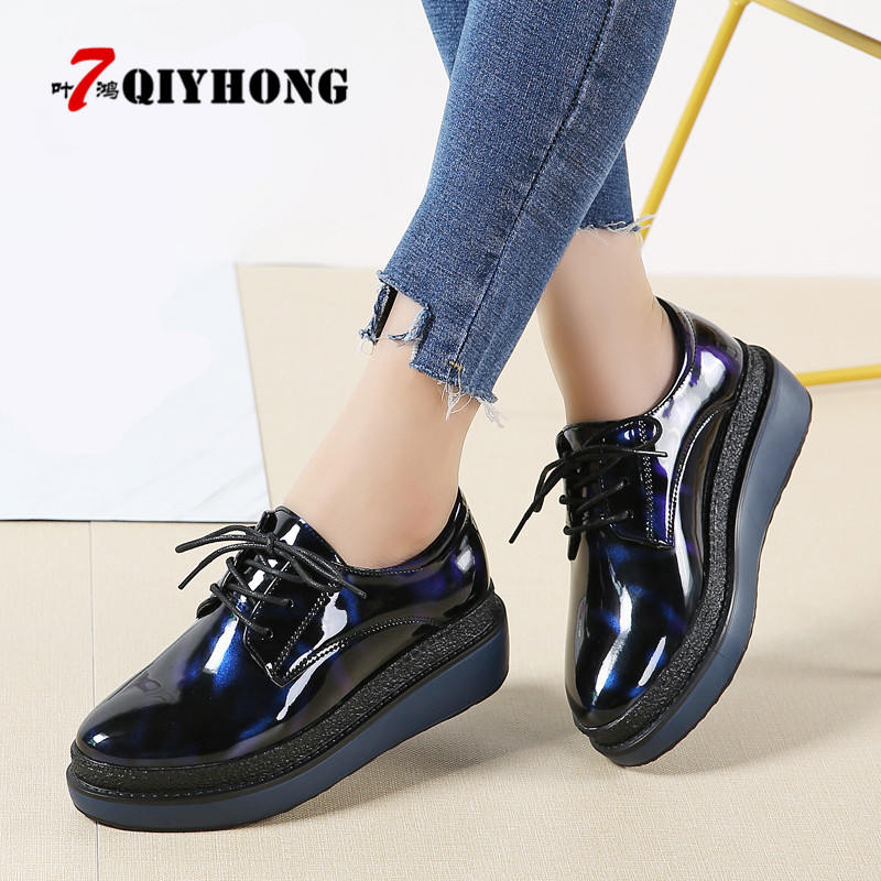 QIYHONG 2018 Women Platform Oxfords Brogue Flats Shoes Patent Leather Lace Up Brand Black Popular Ladies Shoes high quality women oxfords platform shoes patent leather tassel slip on pointed creeper lace up brogue loafers brand size 34 43