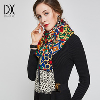 DANAXU 100 Wool Long Scarf Women Large Size Elegant Lady Carf And Shawl Elegant Warm