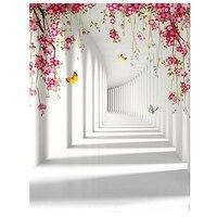 5x7FT White Backdrop Board Photo Background Photography White Studio Cloth Flower Rattan Corridor