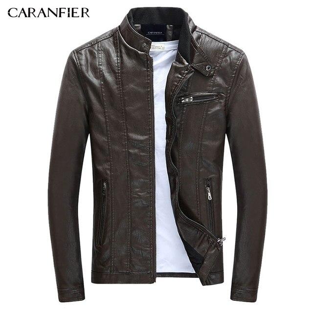 CARANFIER Mens PU Jackets Coats Motorcycle Biker Faux Leather Jacket Men Autumn Winter Clothes Male Classic Thick Velvet Coat 1