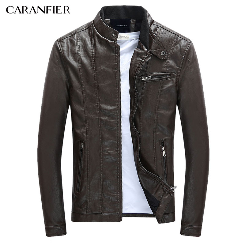 CARANFIER Для мужчин ПУ куртки пальто мотоцикла Кожаные куртки Для мужчин осень-весна кожа Костюмы мужские повседневные пальто Костюмы 3XL