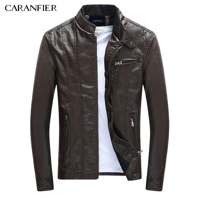 CARANFIER мужские Куртки из искусственной кожи пальто кожаные мотоциклетные куртки мужчины осень-весна одежда из кожи мужские повседневные пал...