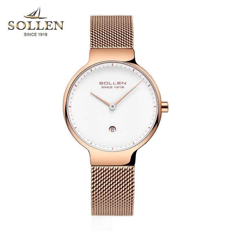 SOLLEN nouvelle marque de luxe en argent maille ceinture Quartz montre de mode femmes montres calendrier étanche montres relogio feminino