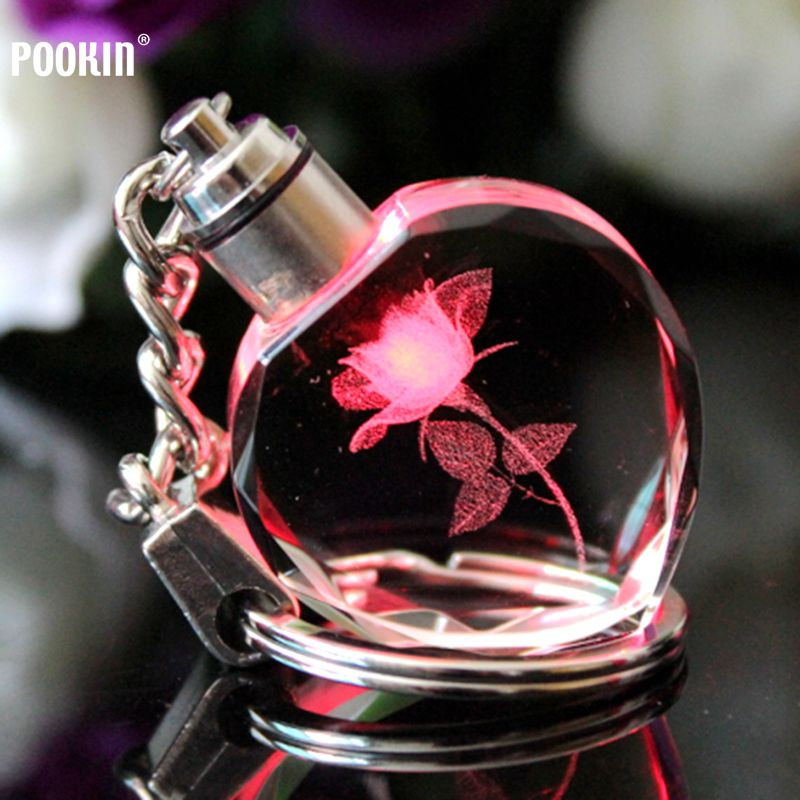 3D Laser Keychain 7 Light LED  For Couples Crystal Key Flashlight Crystal Keyring Colorful Pendant With LED Light