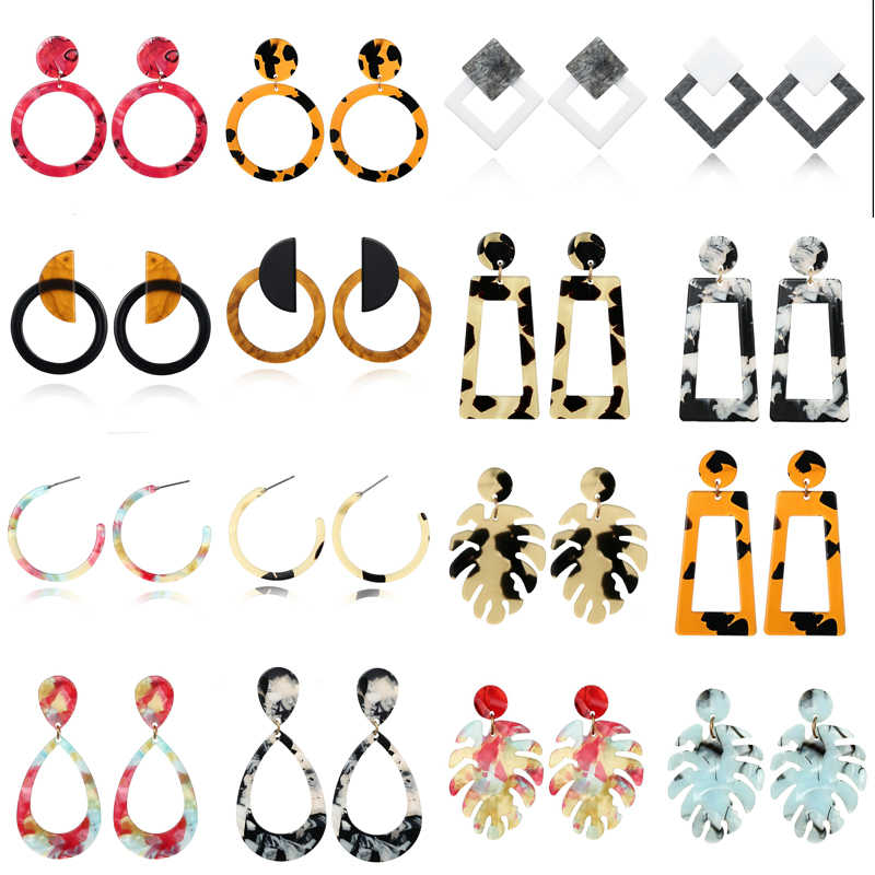 Hoop Earrings Fashion Earrings For Women 2019 Statement Colorful Leopard Leaf Earring Acrylic Square Geometric Party Jewelry