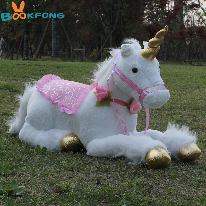 BOOKFONG 85cm Jumbo White Unicorn Plush Toys Giant Stuffed Animal Soft Doll Home Decor Children Photo Props stuffed animal 44 cm plush standing cow toy simulation dairy cattle doll great gift w501