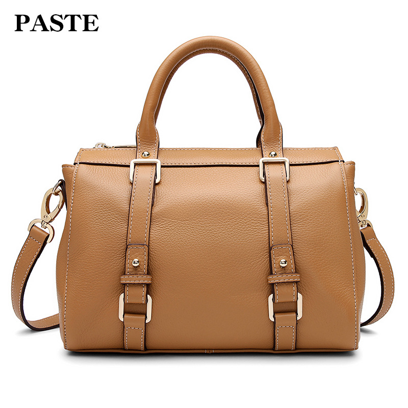 Luxury Genuine Leather Women Handbag Brand Female Leather Bags Fashion Cow Leather Lady Tote Bag Business Messenger Bag Elegant tu teng women elegant doctor bag 2 way tote luxury leather pure color 2018 fashion zipper elegant design lady black khaiki red