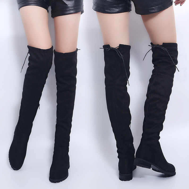 Sexy Over Knee Boots Women Boots Female Winte Women Flats Shoes Suede Long Boots Fashion Thigh High Boots Winter Shoes Plus Size