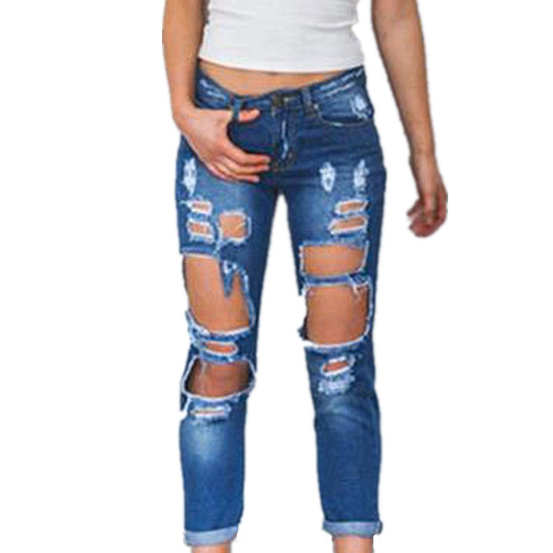 Ripped Distressed Slim Denim Pencil Pants Women Vintage Hole Scratched Boyfriend Jeans Cowgirl Skinny Trousers Lady Dec30