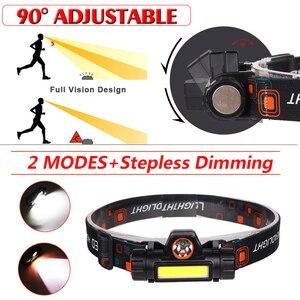 Image 4 - Đèn Pha USB Sạc Đèn LED XPE + COB Đầu Đèn Có Nam Châm Đội Đầu Tích Hợp 18650 Pin Dành Cho Câu Cá, cắm Trại